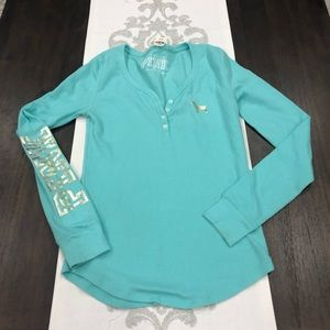 NWT NLA aqua PINK thermal with gold design